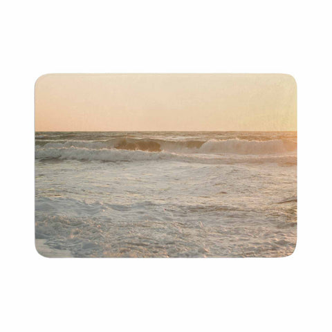 "MaryJo ""White Waves"" White Beige Holiday Nature Digital Photography Memory Foam Bath Mat"