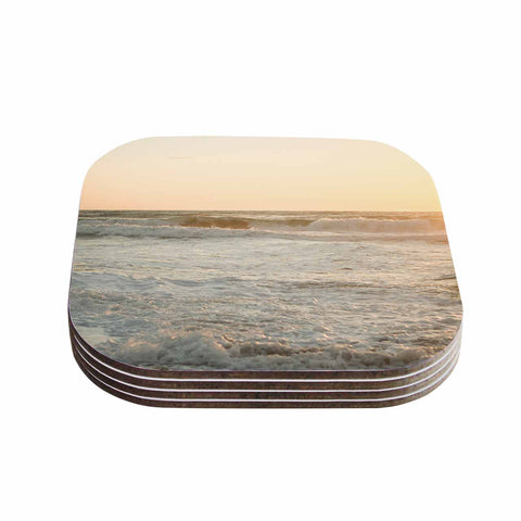 "MaryJo ""White Waves"" White Beige Holiday Nature Digital Photography Coasters (Set of 4)"