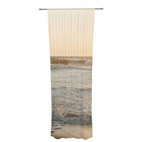 "MaryJo ""White Waves"" White Beige Holiday Nature Digital Photography Decorative Sheer Curtain"