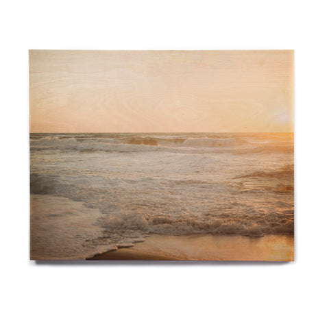 "MaryJo ""White Waves"" White Beige Holiday Nature Digital Photography Birchwood Wall Art"
