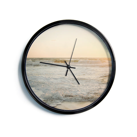 "MaryJo ""White Waves"" White Beige Holiday Nature Digital Photography Modern Wall Clock"