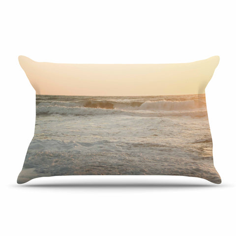 "MaryJo ""White Waves"" White Beige Holiday Nature Digital Photography Pillow Sham"
