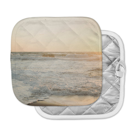 "MaryJo ""White Waves"" White Beige Holiday Nature Digital Photography Pot Holder"