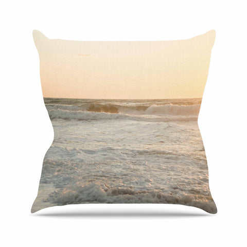 "MaryJo ""White Waves"" White Beige Holiday Nature Digital Photography Outdoor Throw Pillow"