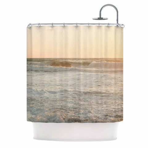 "MaryJo ""White Waves"" White Beige Holiday Nature Digital Photography Shower Curtain"