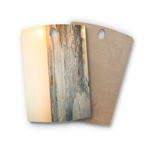 "MaryJo ""White Waves"" White Beige Holiday Nature Digital Photography Rectangle Wooden Cutting Board"