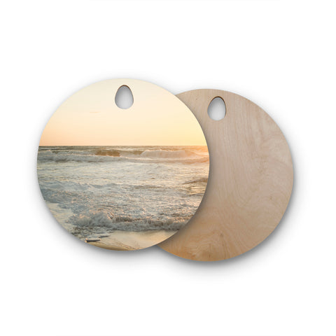 "MaryJo ""White Waves"" White Beige Holiday Nature Digital Photography Round Wooden Cutting Board"