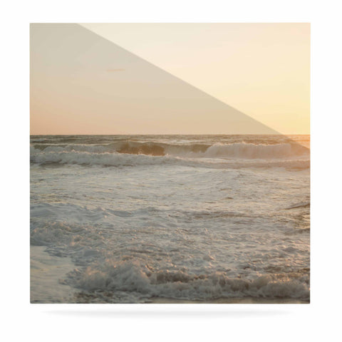 "MaryJo ""White Waves"" White Beige Holiday Nature Digital Photography Luxe Square Panel"