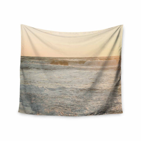 "MaryJo ""White Waves"" White Beige Holiday Nature Digital Photography Wall Tapestry"