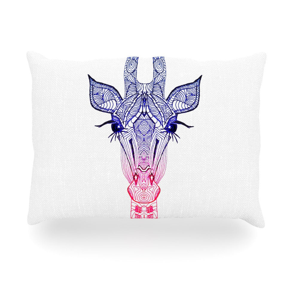 "Monika Strigel ""Rainbow Giraffe"" Oblong Pillow - KESS InHouse"