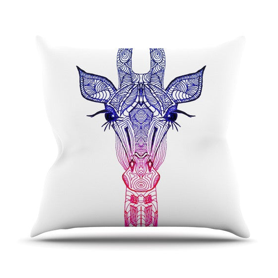 "Monika Strigel ""Rainbow Giraffe"" Outdoor Throw Pillow - KESS InHouse  - 1"