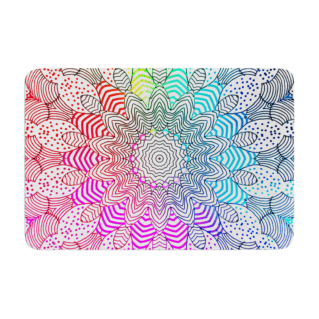 "Monika Strigel ""Rainbow Dots"" Memory Foam Bath Mat - KESS InHouse"