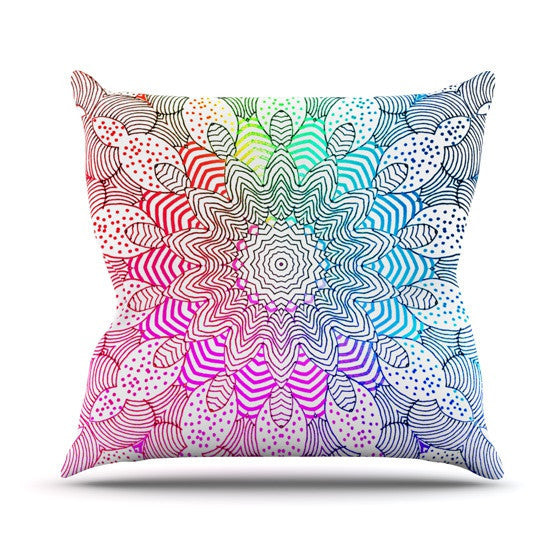 "Monika Strigel ""Rainbow Dots"" Outdoor Throw Pillow - KESS InHouse  - 1"