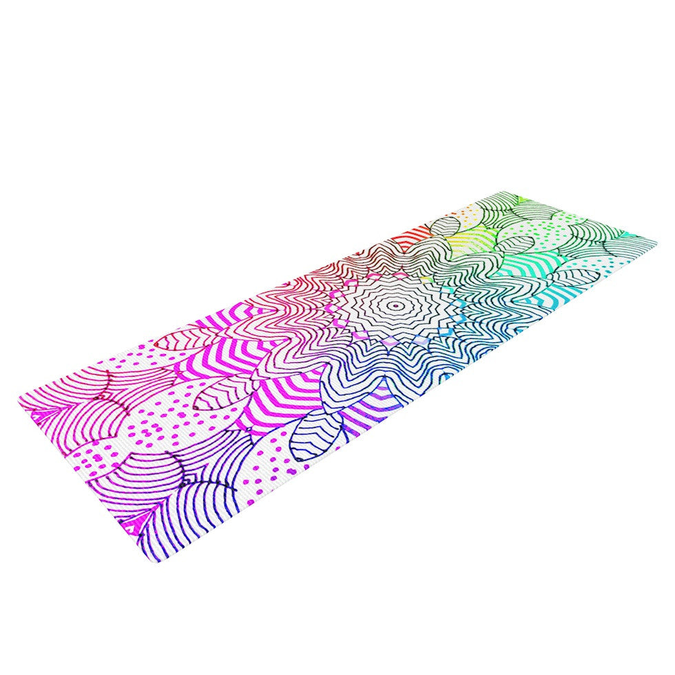 "Monika Strigel ""Rainbow Dots"" Yoga Mat - KESS InHouse  - 1"