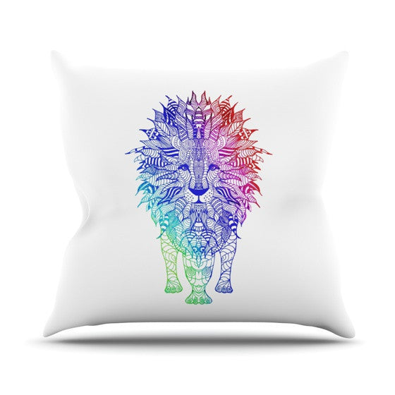 "Monika Strigel ""Rainbow Lion"" Outdoor Throw Pillow - KESS InHouse  - 1"