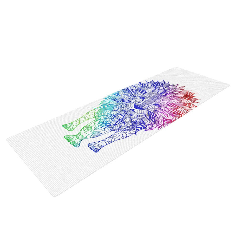 "Monika Strigel ""Rainbow Lion"" Yoga Mat - KESS InHouse  - 1"