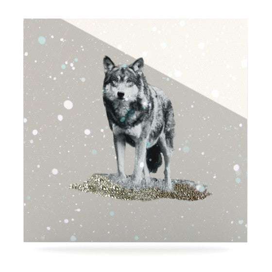 "Monika Strigel ""Wolf"" Luxe Square Metal Art - KESS InHouse  - 1"