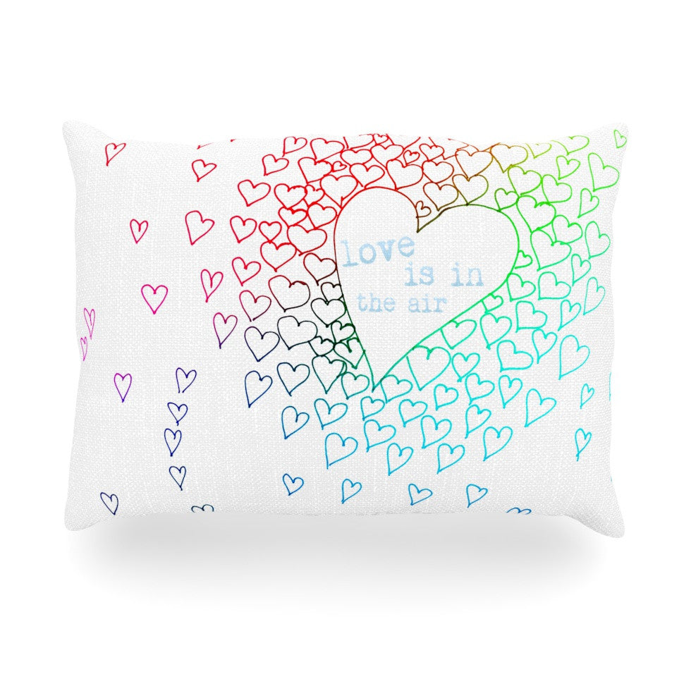 "Monika Strigel ""Rainbow Hearts"" Oblong Pillow - KESS InHouse"
