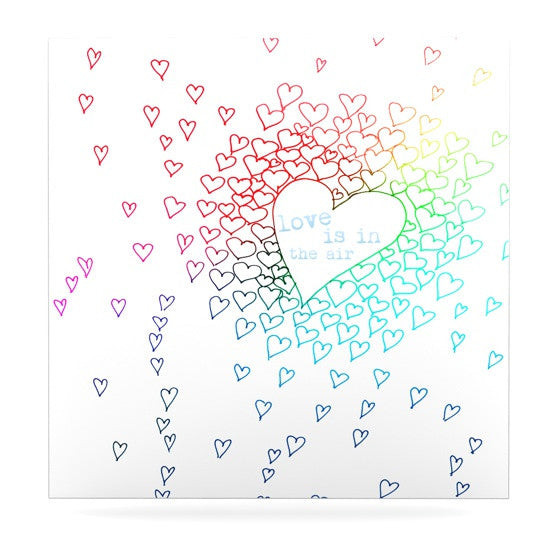 "Monika Strigel ""Rainbow Hearts"" Luxe Square Metal Art - KESS InHouse  - 1"