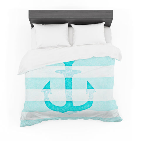 "Monika Strigel ""Stone Vintage Aqua Anchor""  Featherweight Duvet Cover - Outlet Item"
