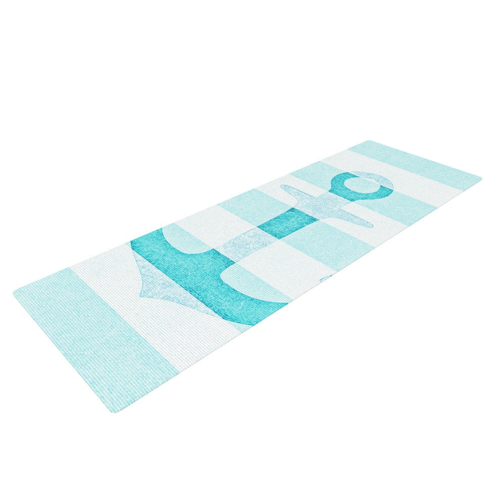 "Monika Strigel ""Stone Vintage Aqua Anchor"" Yoga Mat - KESS InHouse  - 1"