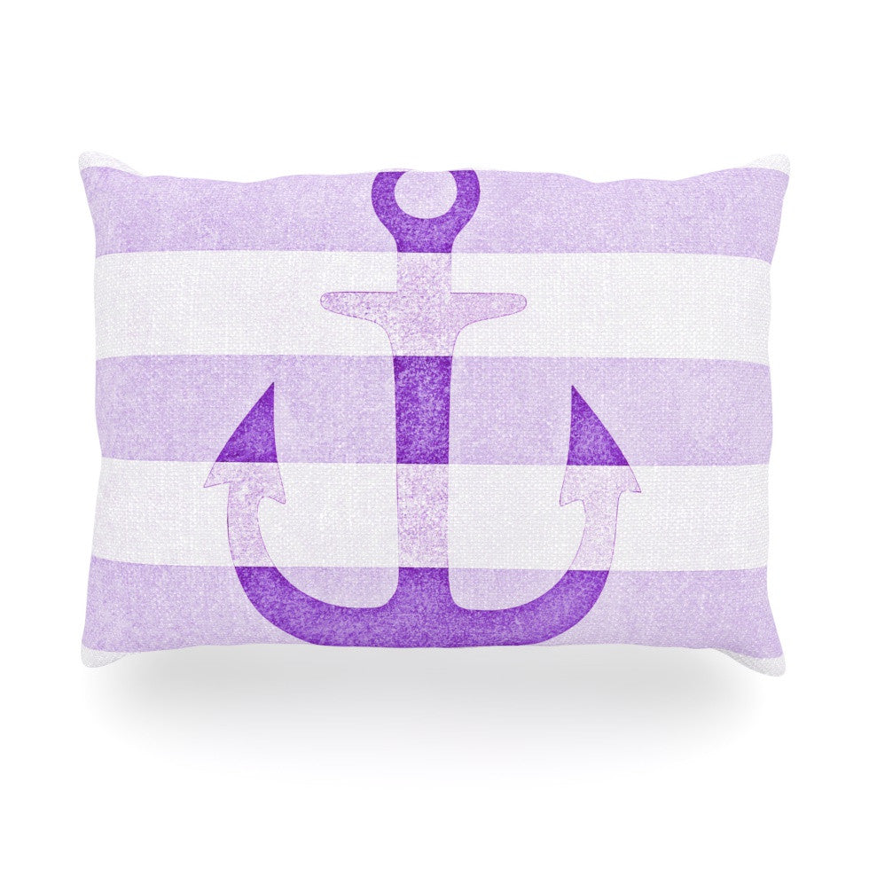 "Monika Strigel ""Stone Vintage Purple Anchor"" Oblong Pillow - KESS InHouse"