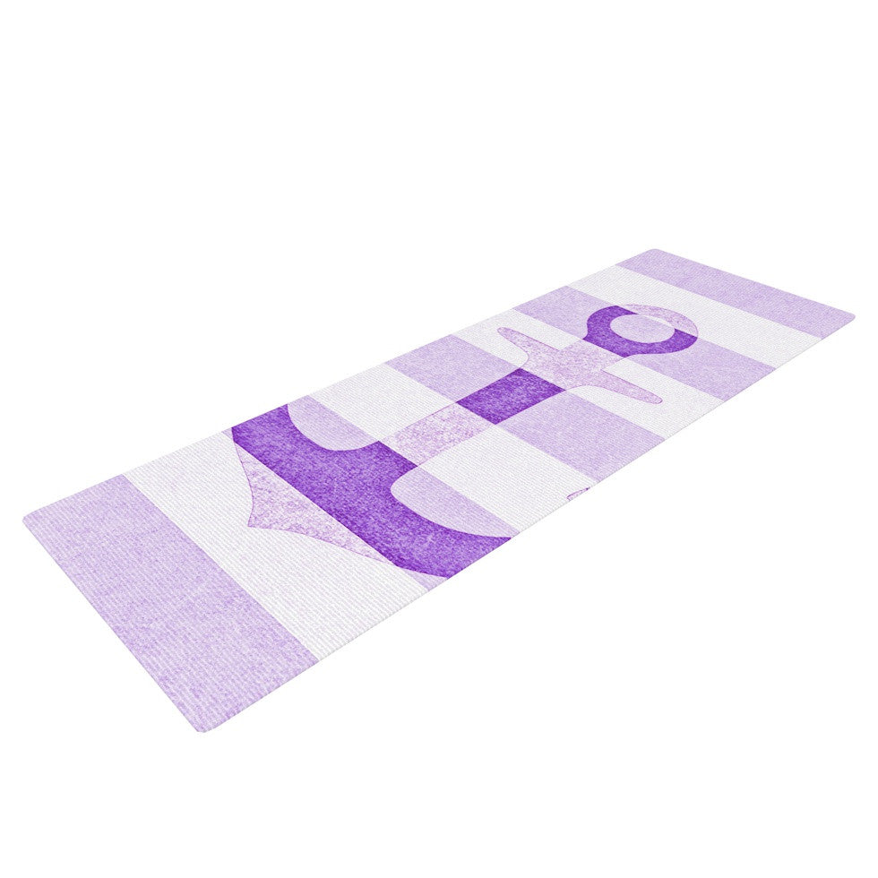 "Monika Strigel ""Stone Vintage Purple Anchor"" Yoga Mat - KESS InHouse  - 1"