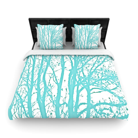 "Monika Strigel ""Mint Trees""  Woven Duvet Cover - Outlet Item"