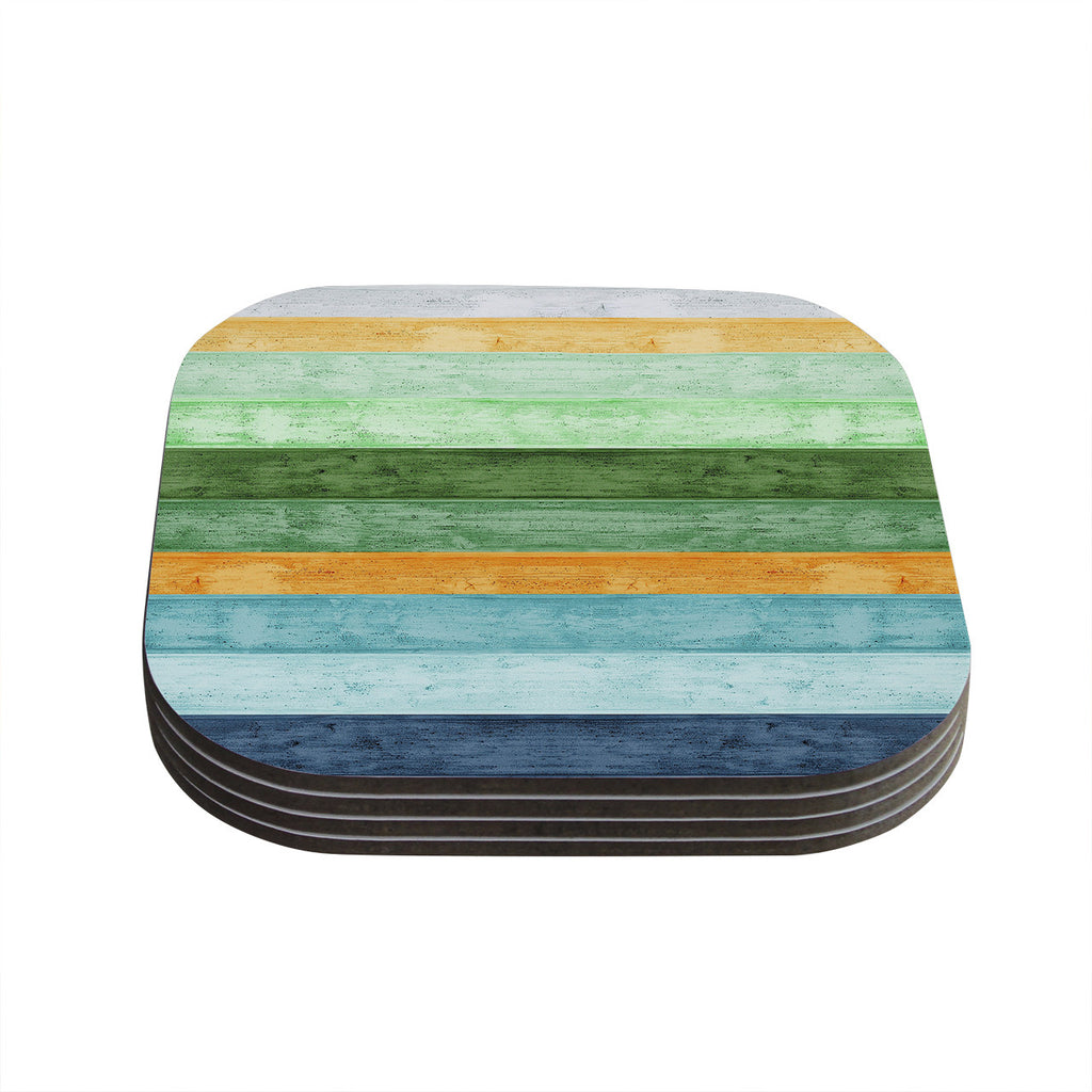 "Monika Strigel ""Beach Wood Blue"" Coasters (Set of 4)"