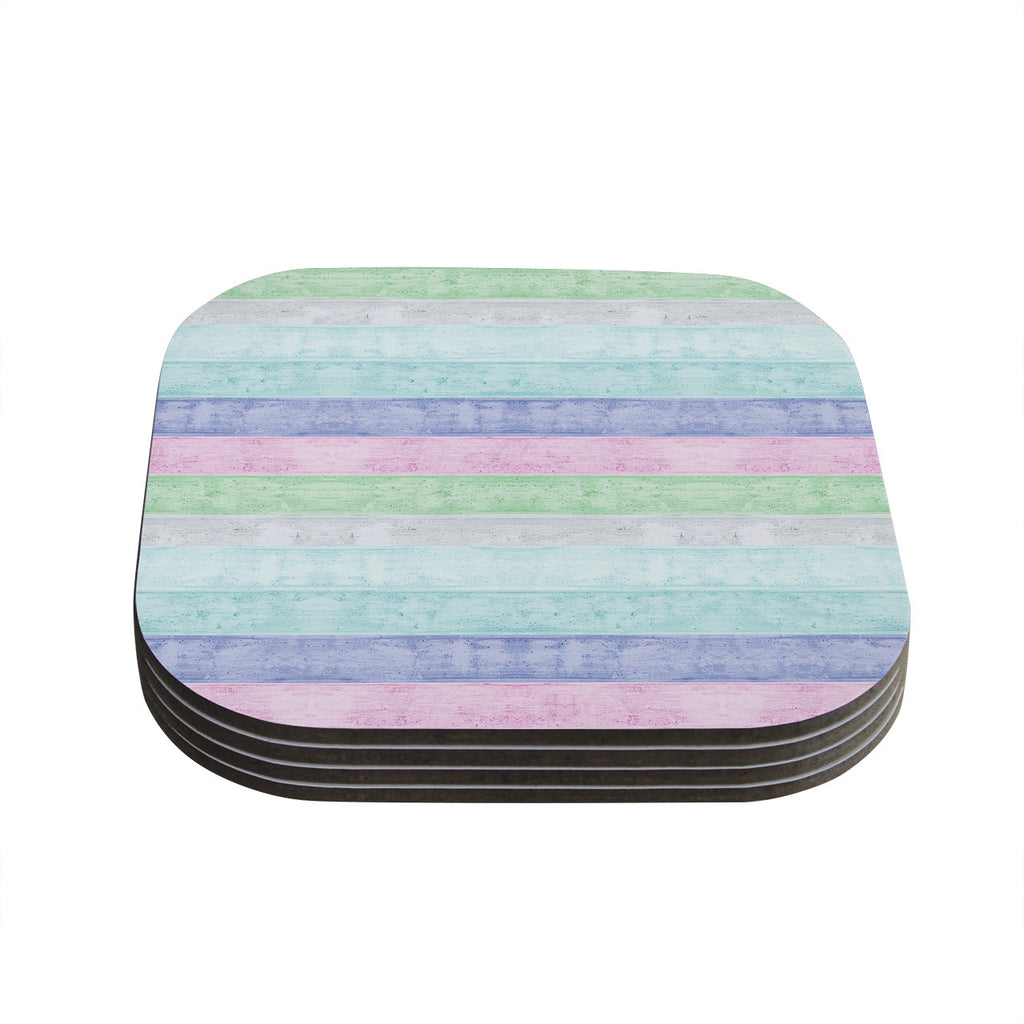 "Monika Strigel ""Beach Wood Pastel"" Coasters (Set of 4)"