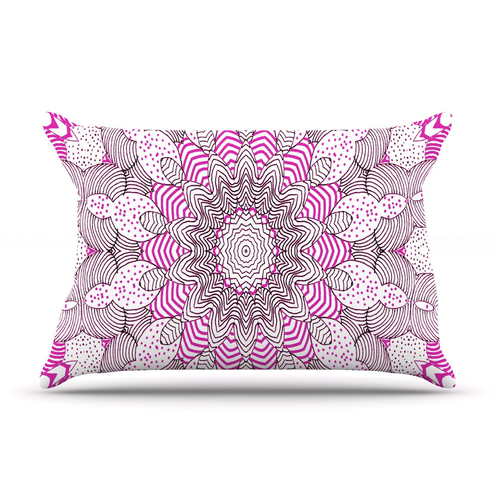 "Monika Strigel ""Dots and Stripes Pink"" Pillow Sham - KESS InHouse"