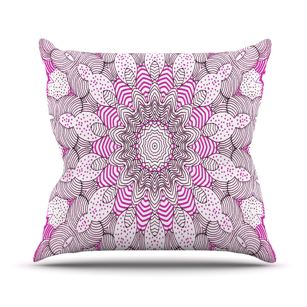 "Monika Strigel ""Dots and Stripes Pink"" Outdoor Throw Pillow - KESS InHouse  - 1"