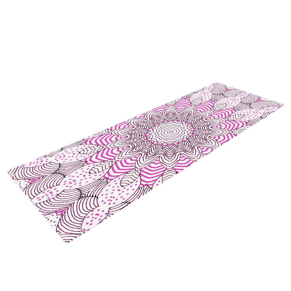 "Monika Strigel ""Dots and Stripes Pink"" Yoga Mat - KESS InHouse  - 1"