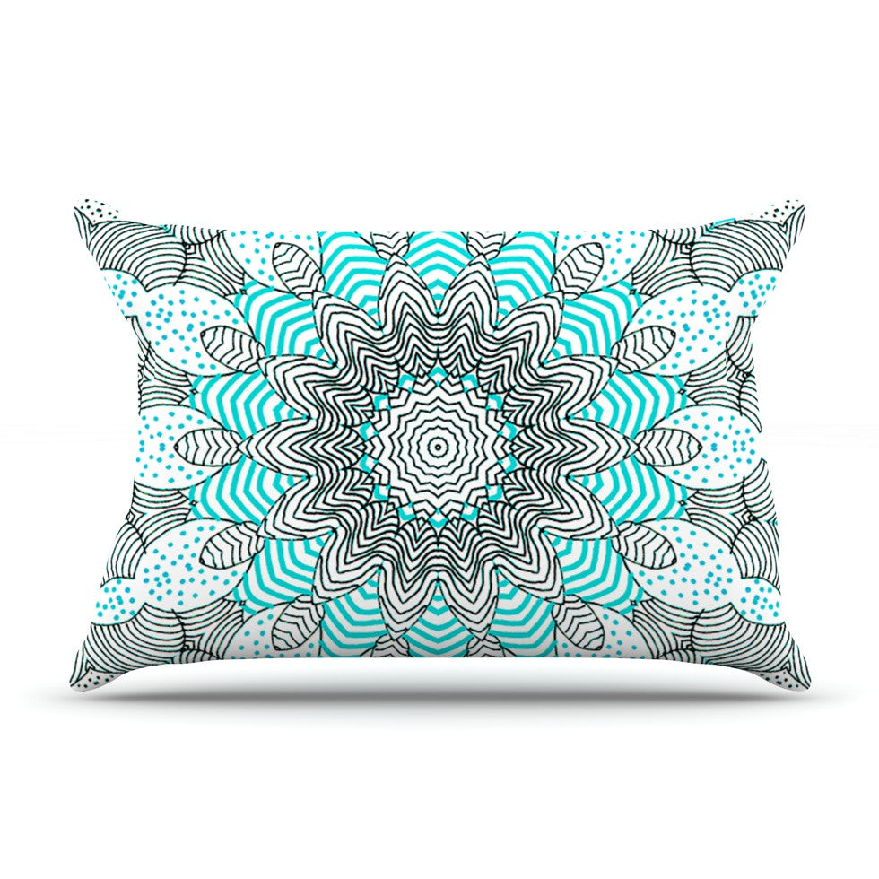 "Monika Strigel ""Dots and Stripes Mint"" Pillow Sham - KESS InHouse"