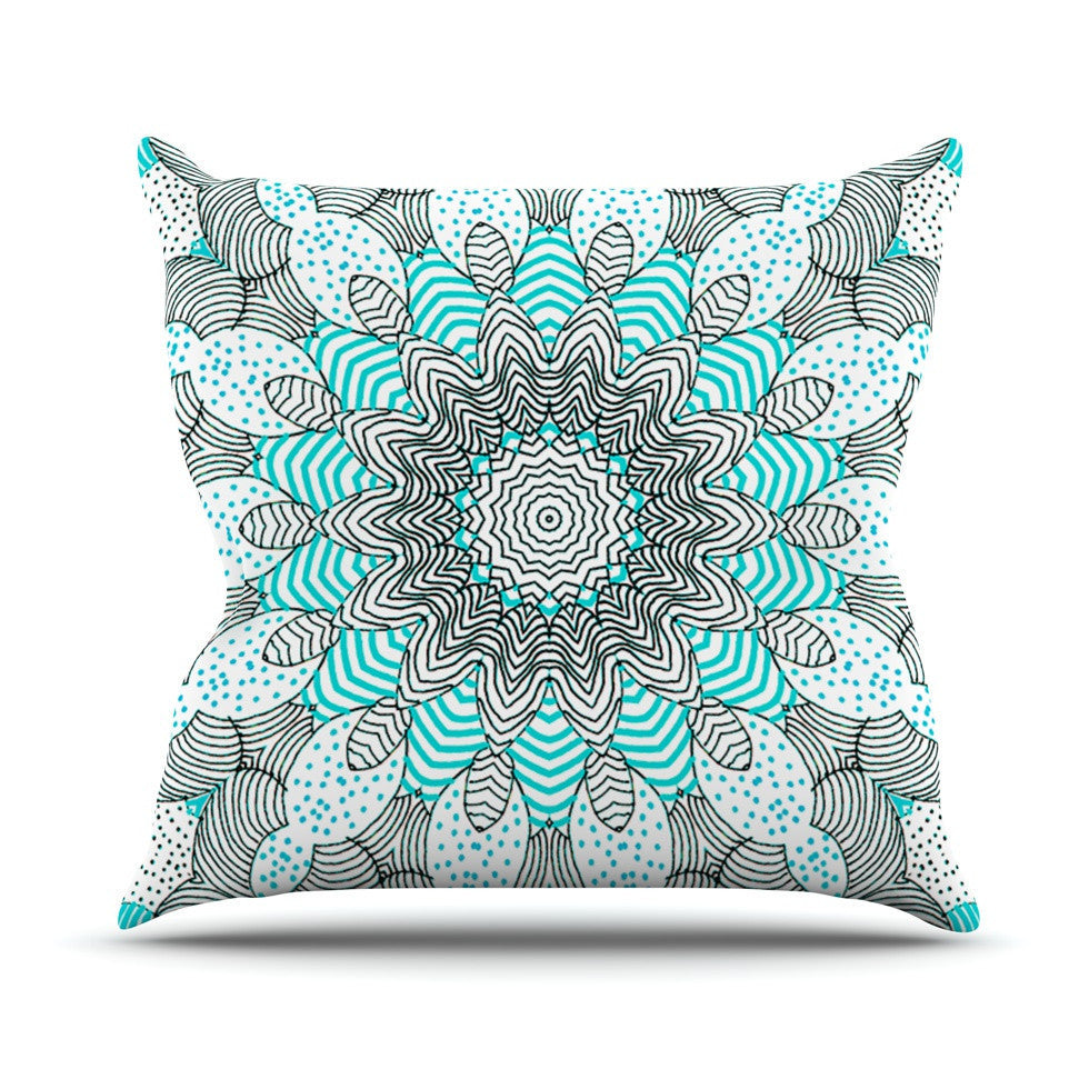 "Monika Strigel ""Dots and Stripes Mint"" Outdoor Throw Pillow - KESS InHouse  - 1"