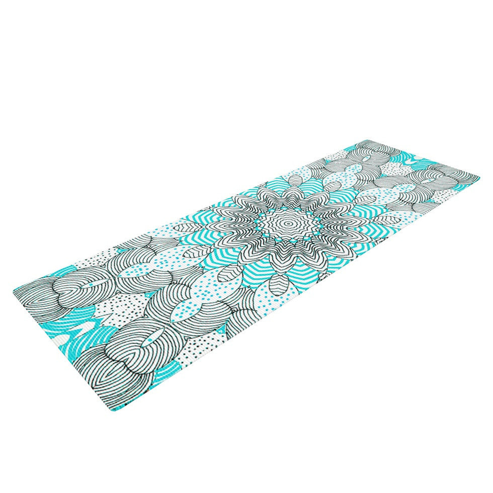 "Monika Strigel ""Dots and Stripes Mint"" Yoga Mat - KESS InHouse  - 1"