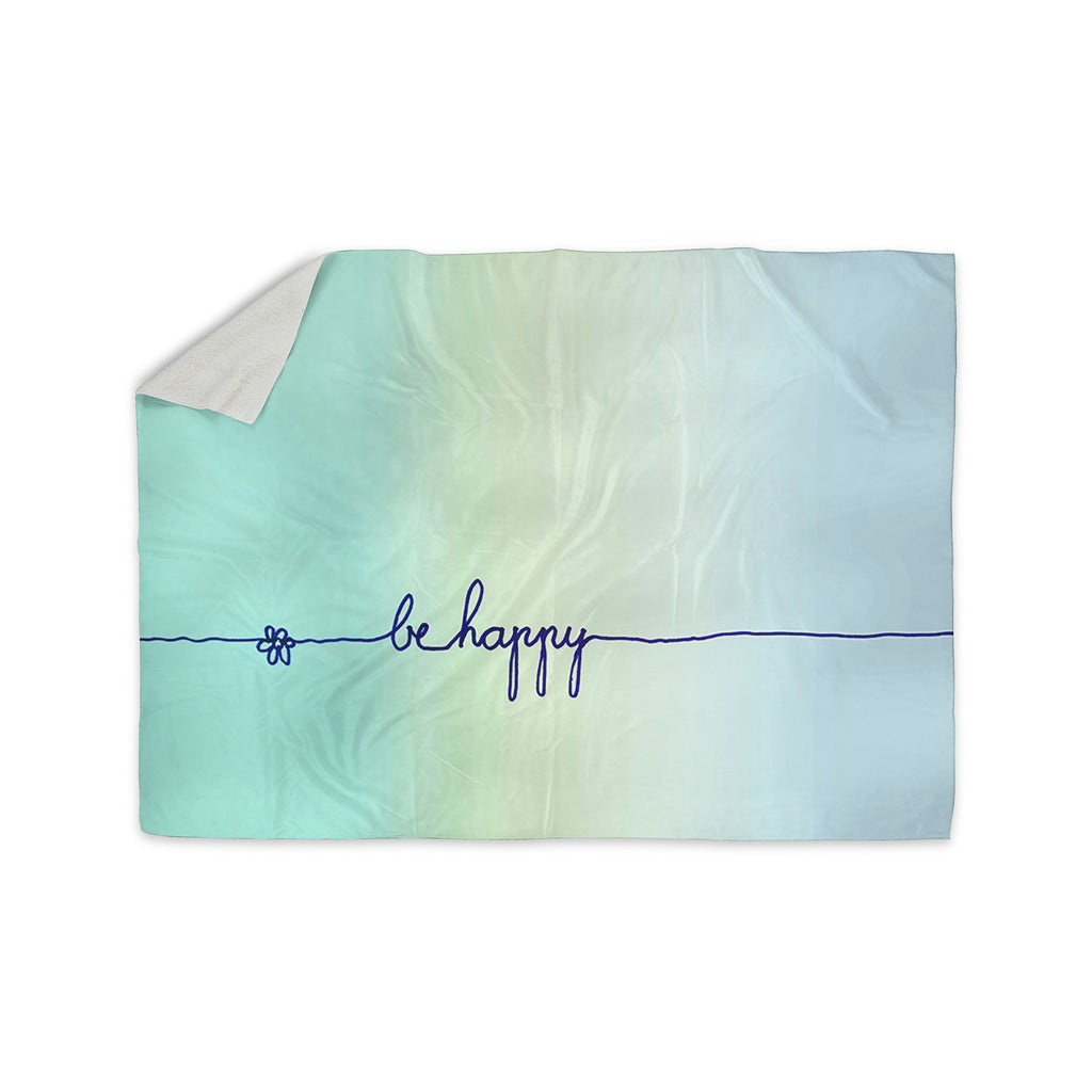 "Monika Strigel ""Be Happy Aqua"" Simple Blue Sherpa Blanket - KESS InHouse  - 1"