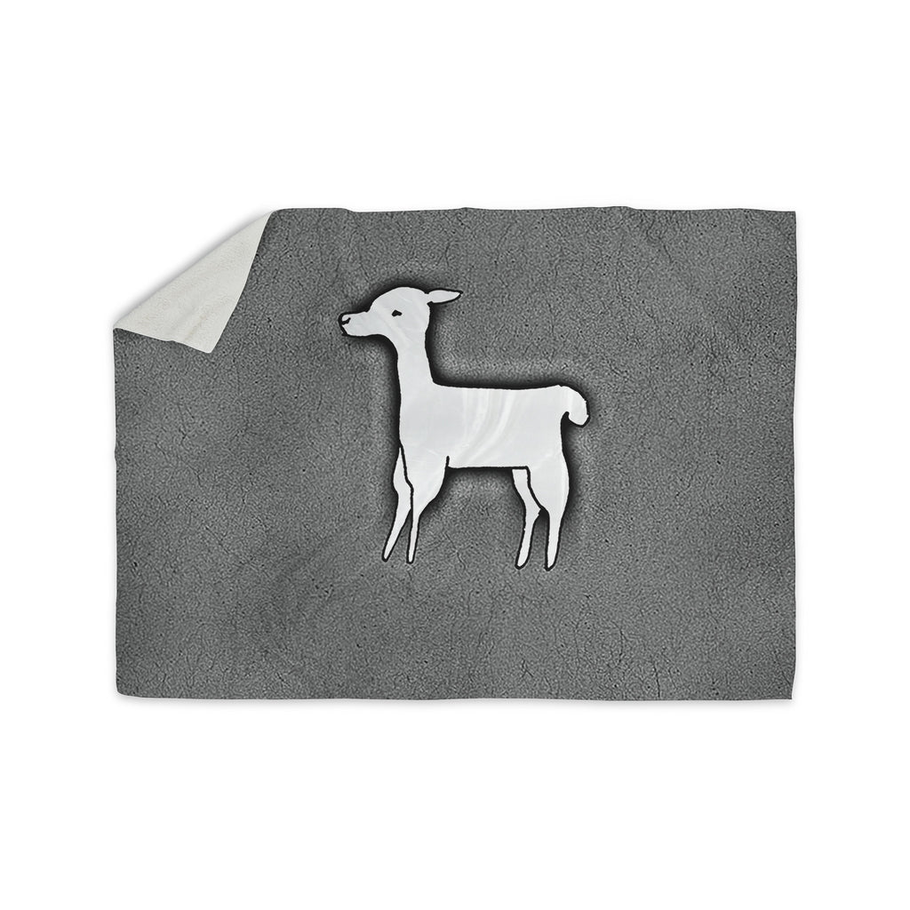 "Monika Strigel ""Llama One"" Grey Sherpa Blanket - KESS InHouse  - 1"