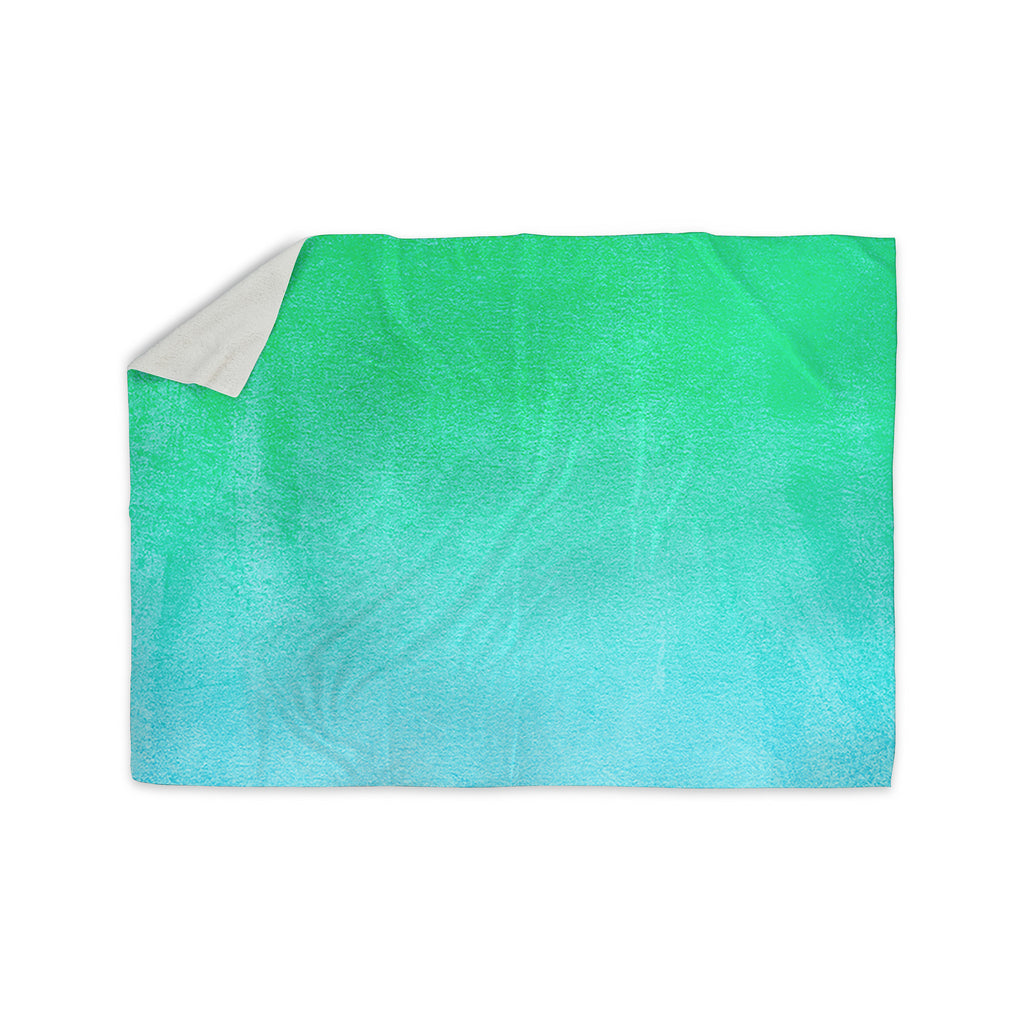 "Monika Strigel ""Blue Hawaiian"" Aqua Green Sherpa Blanket - KESS InHouse  - 1"
