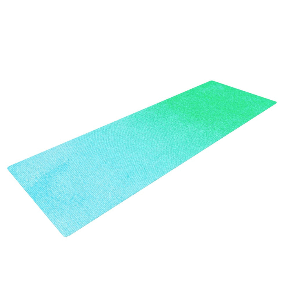 "Monika Strigel ""Blue Hawaiian"" Aqua Green Yoga Mat - KESS InHouse  - 1"