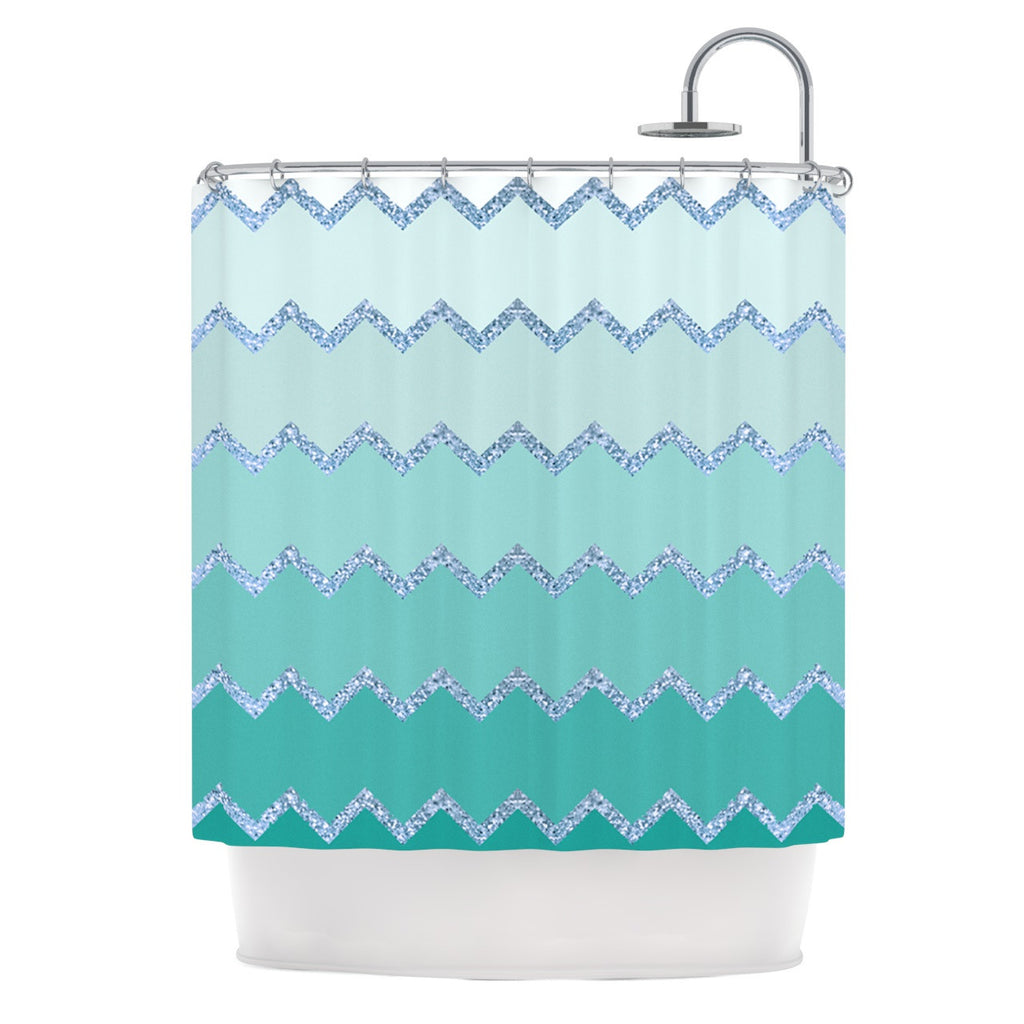 Monika Strigel Avalon Mint Ombre Aqua Green Shower Curtain