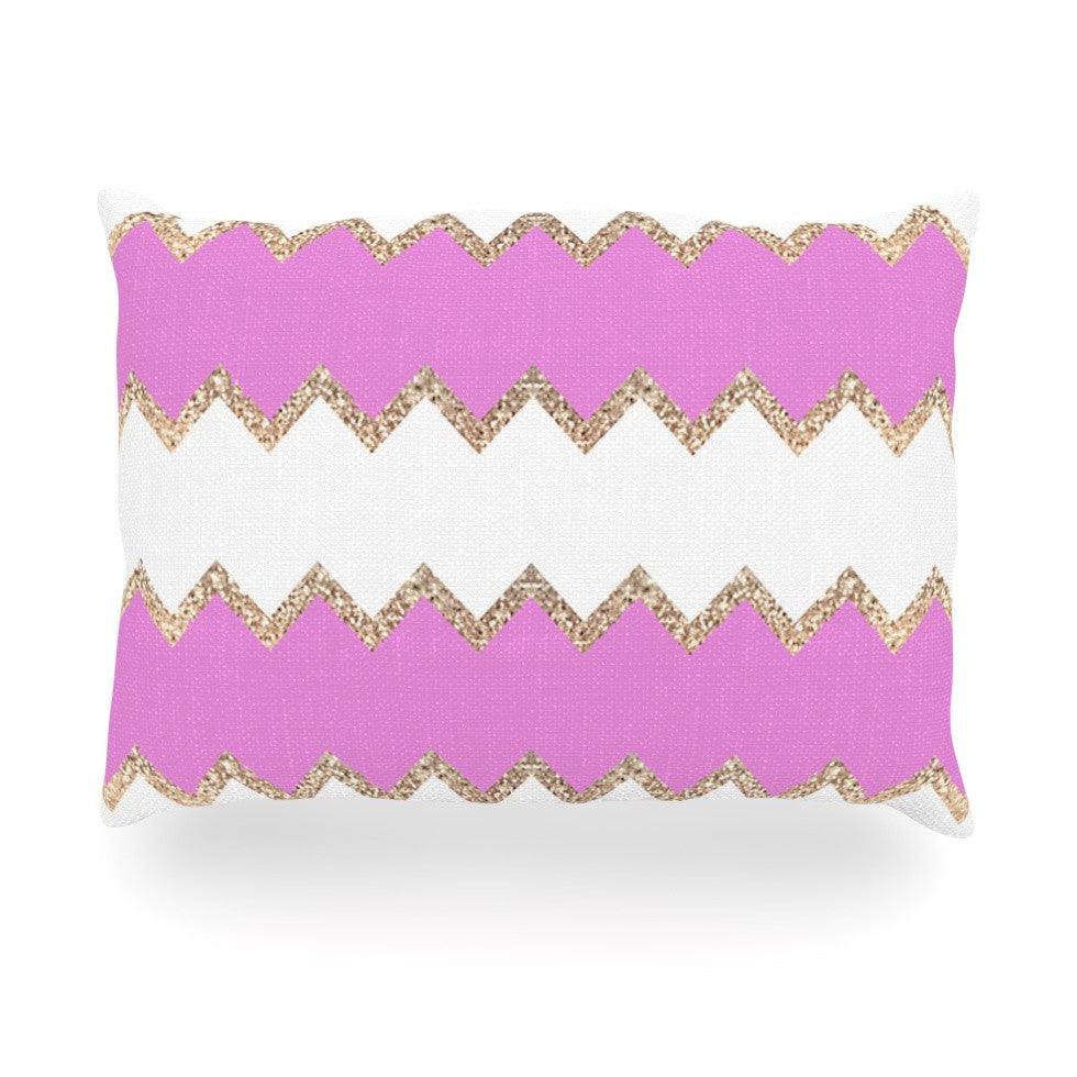 "Monika Strigel ""Avalon Pink Chevron"" Rose White Oblong Pillow - KESS InHouse"