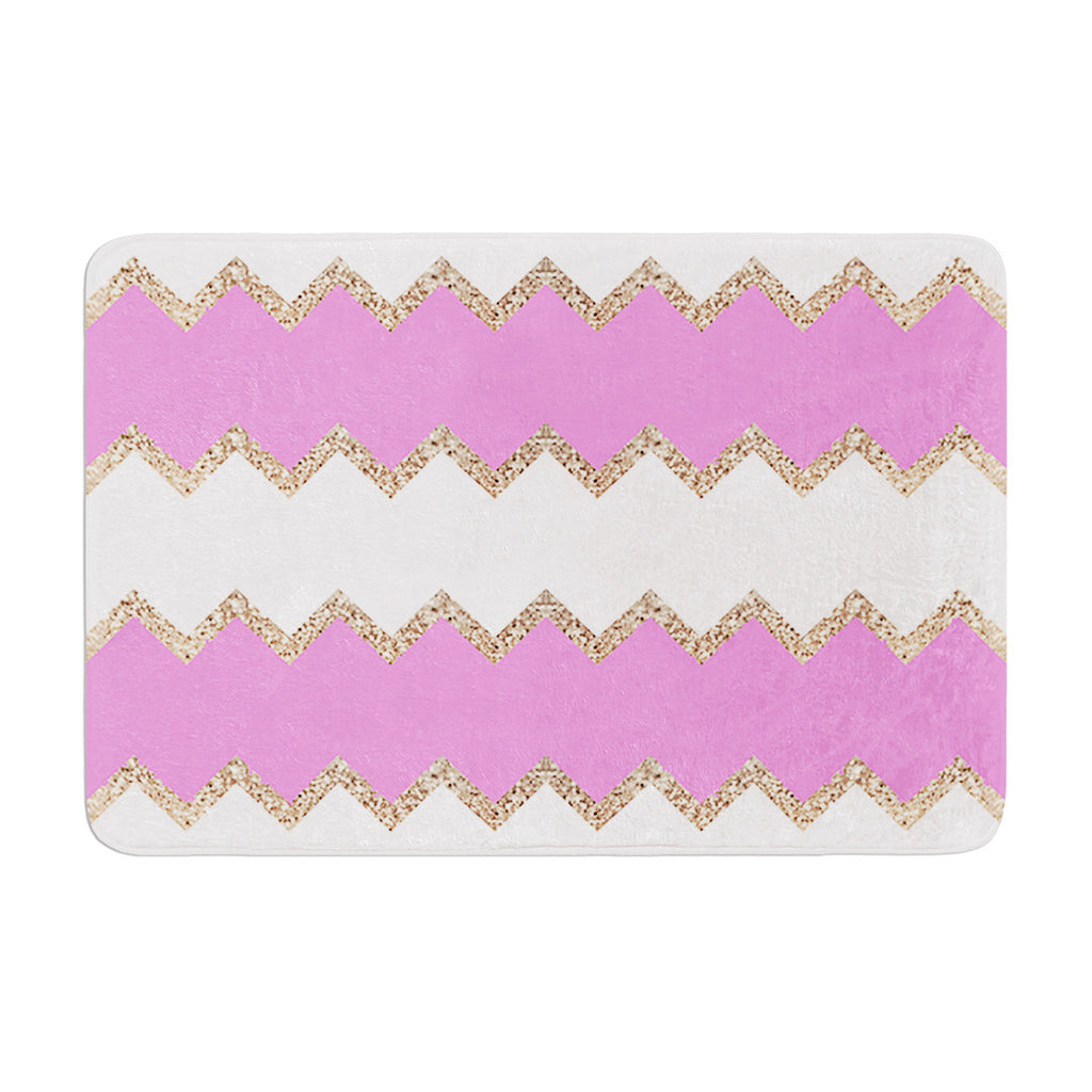 "Monika Strigel ""Avalon Pink Chevron"" Rose White Memory Foam Bath Mat - KESS InHouse"