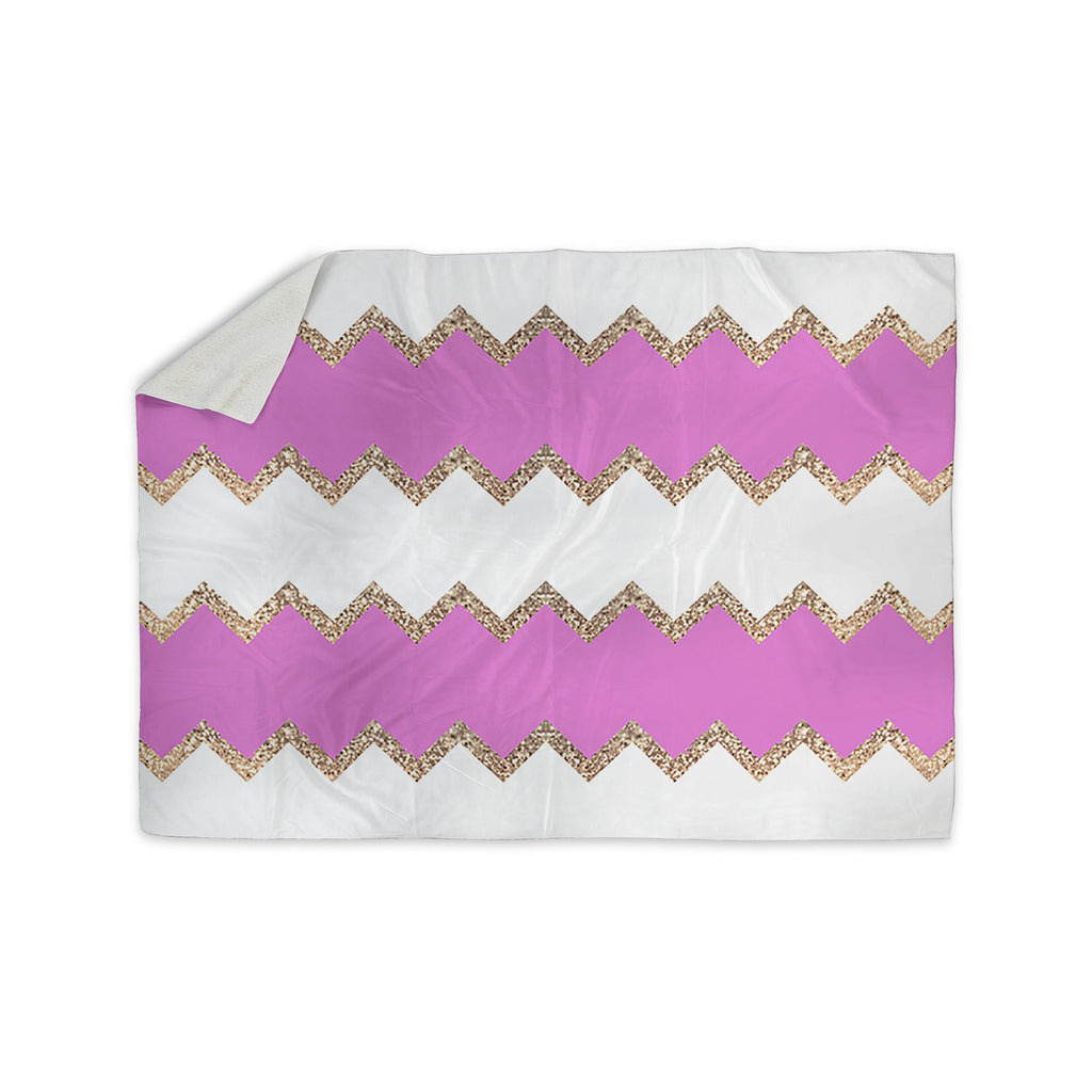 "Monika Strigel ""Avalon Pink Chevron"" Rose White Sherpa Blanket - KESS InHouse  - 1"