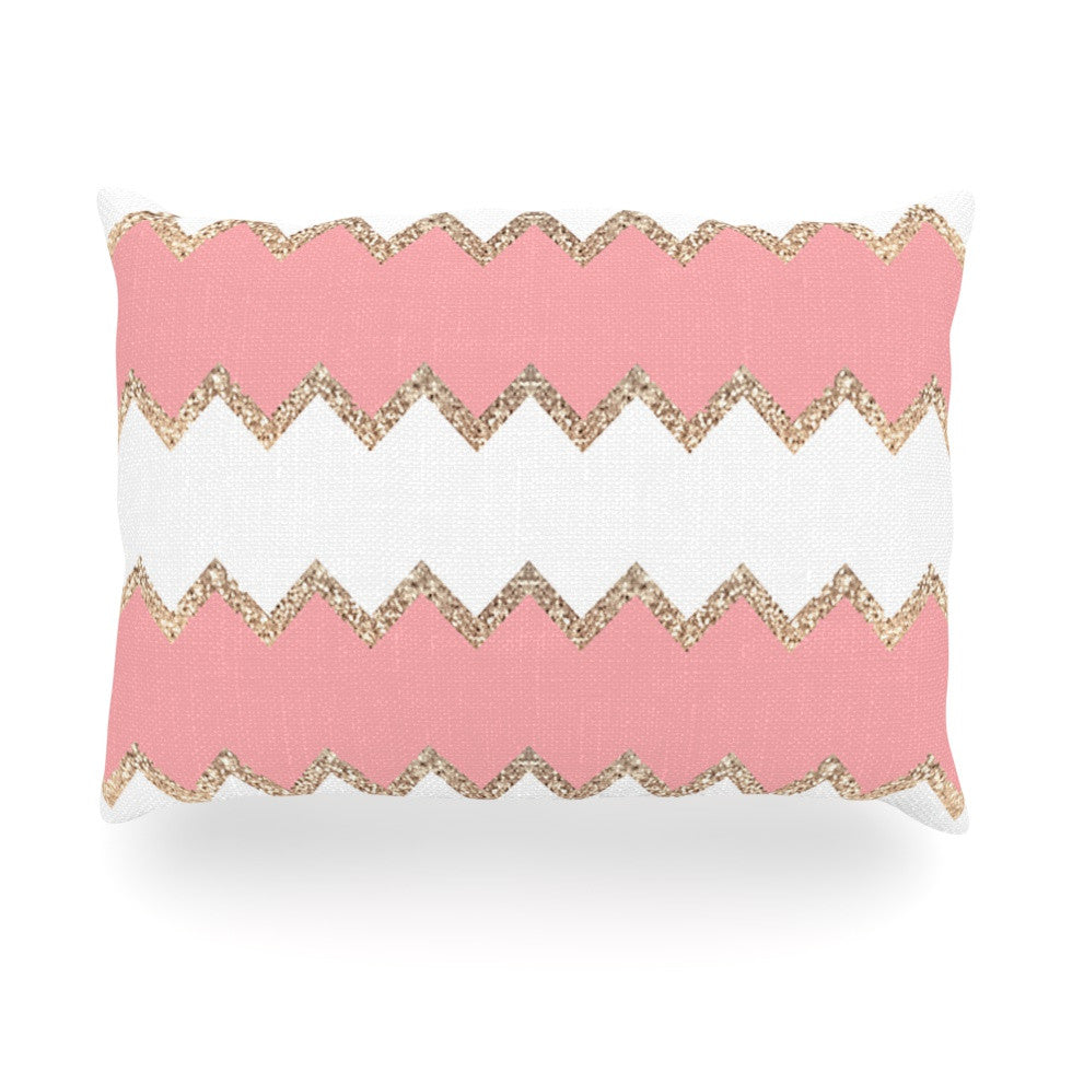"Monika Strigel ""Avalon Coral Chevron"" White Blush Oblong Pillow - KESS InHouse"
