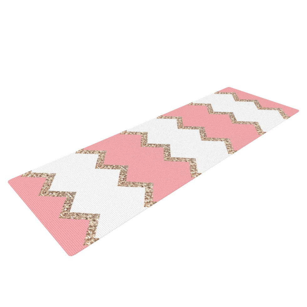 "Monika Strigel ""Avalon Coral Chevron"" White Blush Yoga Mat - KESS InHouse  - 1"