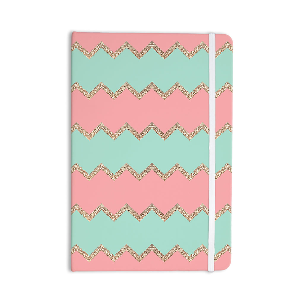 "Monika Strigel ""Avalon Soft Coral and Mint Chevron"" Orange Green Everything Notebook - KESS InHouse  - 1"