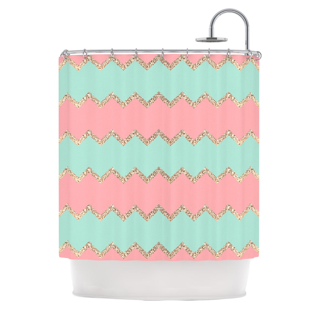 Avalon Soft Coral And Mint Chevron Shower Curtain By Monika Strigel