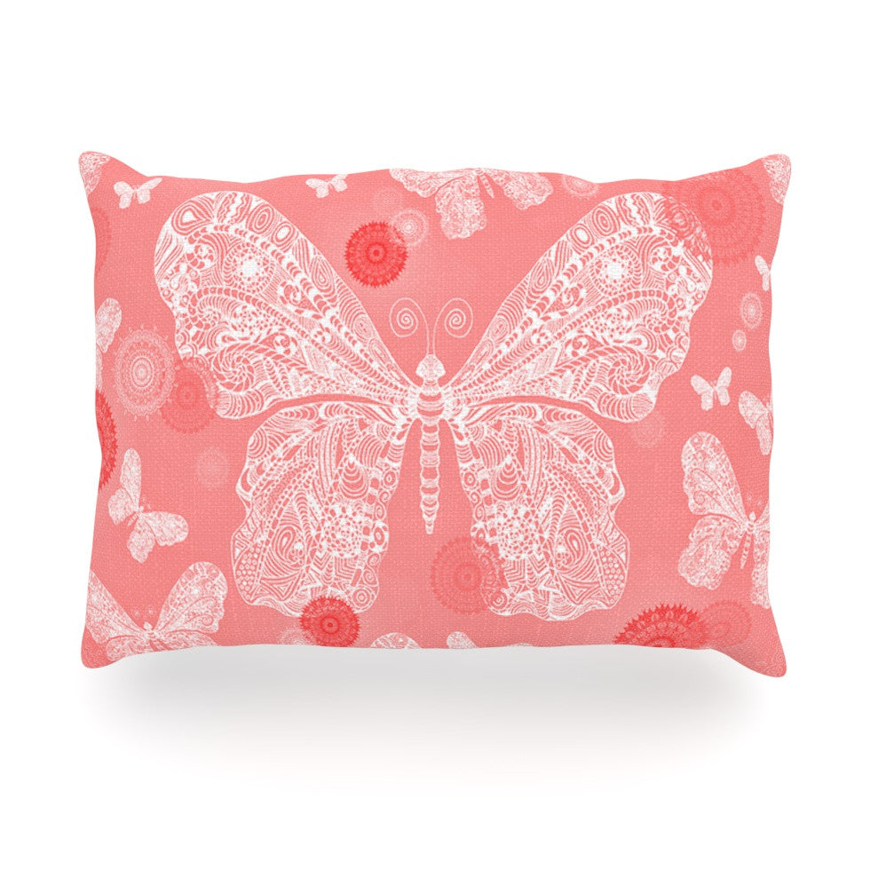 "Monika Strigel ""Butterfly Dreams Coral"" Pink White Oblong Pillow - KESS InHouse"