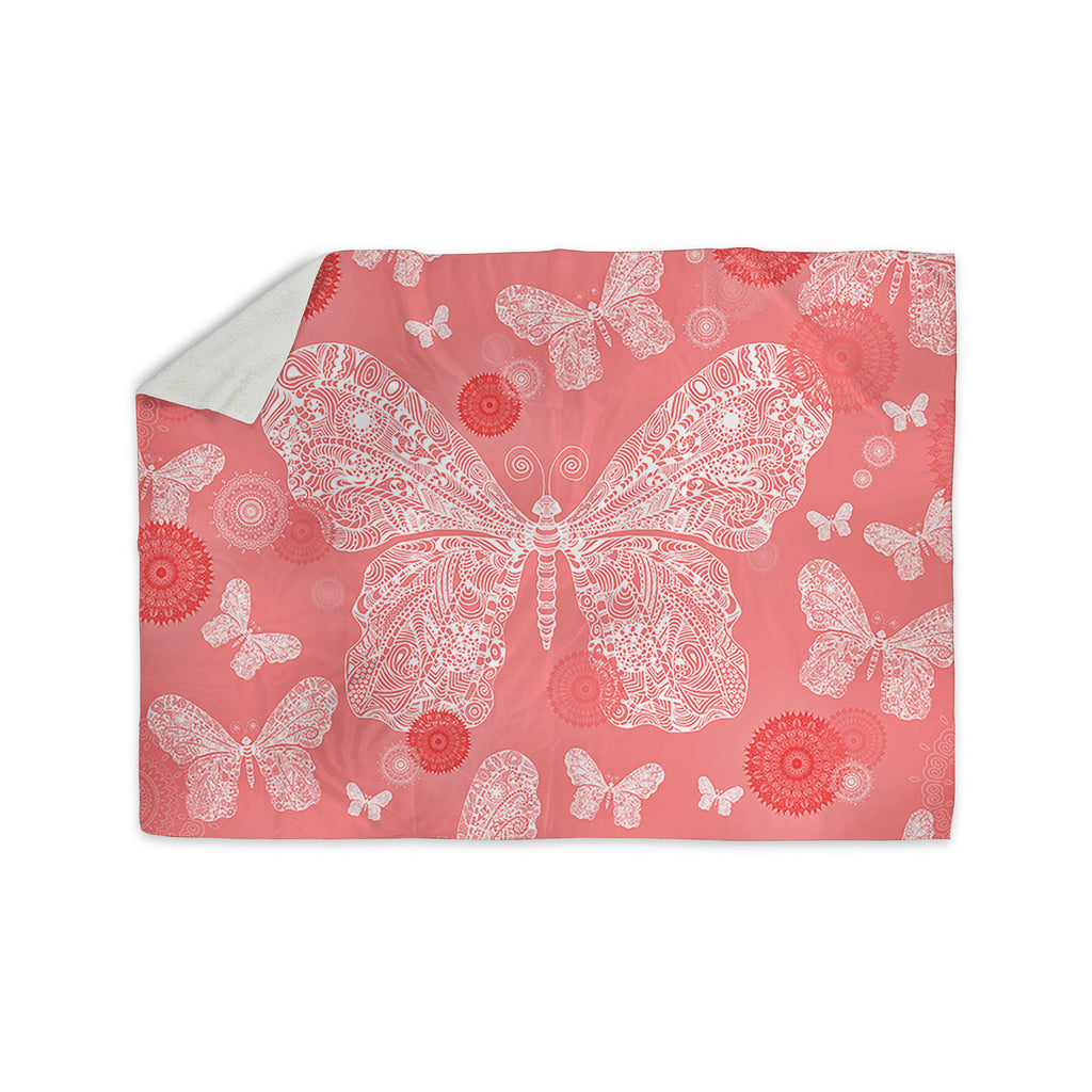 "Monika Strigel ""Butterfly Dreams Coral"" Pink White Sherpa Blanket - KESS InHouse  - 1"